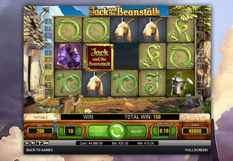 Freespins, Jack and the beanstalk, Casino, slot, videoslot, netent